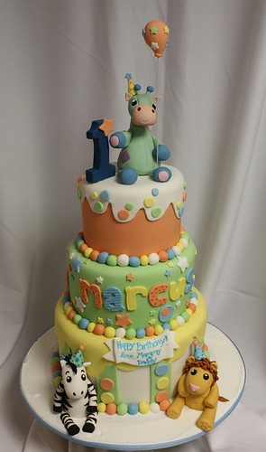 Toy Animal 1st Birthday Custom Cake