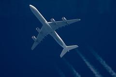 Lufthansa Airbus A340-642 D-AIHX (Thames Air) Tags: lufthansa airbus a340642 daihx contrails telescope dobsonian overhead vapour trail