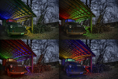 Rural Farm Quadtych III (Notley Hawkins) Tags: rural missouri notley notleyhawkins 10thavenue httpwwwnotleyhawkinscom missouriphotography notleyhawkinsphotography lightpainting bluelight greenlight blue green night nocturne 光绘 光繪 lichtmalerei pinturadeluz ライトペインティング प्रकाशपेंटिंग ציוראור اللوحةالضوء abandoned longexposure ruralphotography chartitoncountymissouri red redlight rgb outdoor 2017 riverbottoms missouririverbottoms truck farmtruck chevrolet march rafters roof ceiling wideangle fisheye quadtych quad