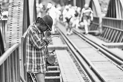 0483 Player Is Tired (Hrvoje Simich - gaZZda) Tags: player people music tired monochrome blackwhite riverkwai thailand travel nikond750 nikon nikkor283003556 gazzda hrvojesimich