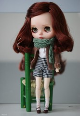 Daria (Sarah Boude) Tags: doll poupée blythe factory tbl clone custo custom makeup make up faceup repaint rechipped natmdolls sewing handmade clothing short redhead freckles vichy knitting cute