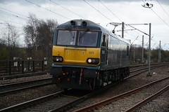 """Caledonian Sleeper 'Stag' Branded Class 92, 92023 (37190 """"Dalzell"""") Tags: cs caledoniansleeper staglogo darkblue midnightteal gbrf gbrailfreight europorte2 brush acdc sparkies electric dyson class92 92023 northwestern wigan"""