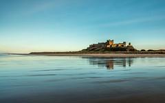Bamburgh Castle (rgcxyz35) Tags: beach england water reflections sand northumberland evening bamburgh bamburghcastle coast