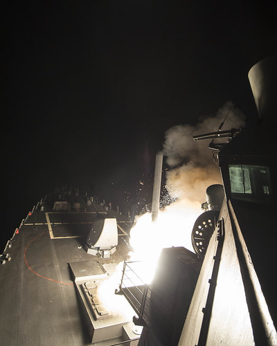 From flickr.com: USS Ross fires a tomahawk land attack missile April 7, 2017. {MID-71486}