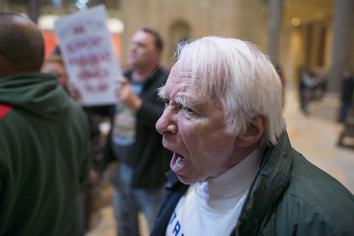 From flickr.com: Trump supporter yells at anti-Trump protesters, From Images