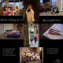 Week 13 - Morning Routine (Angela Weirauch Photography) Tags: canon canon6d 6d 365 project 50mm prime girl sister girls sisters project365 towels breakfast father dad man daughter backpack groceries blanket shoes calendar pens markers