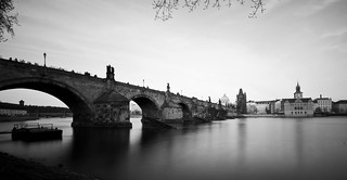 bw long exposure of the famous Charles Bridge
