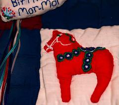 Cloth~ Macro Monday (Karen McQuilkin) Tags: quilt gift cloth madebyme swedishhorse sewing macromondays dalahorse sweden swedish homemade mom mormor