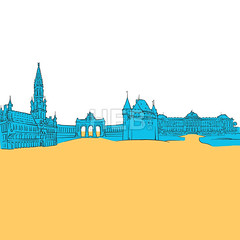 Brussels Belgium Colored Panorama (Hebstreits) Tags: abstract art background belgium blue brussels canvas capital card color desitnation destination europe filled greeting hetbroodhuis illustration infographic king kingshouse maison night pen presentation print roi shape sketch tourism tourist travel trip urban vector wall yellow