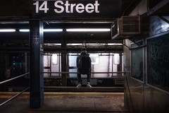 Ready anytime (karinavera) Tags: travel sonya7r2 people metro dark man train newyork subway station