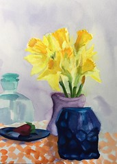 Daffodil and Blue Glass with a Quiet Strawberry (Handwork Naturals) Tags: nice daffodils spring flowers vase yellow blue glass antique sunny strawberry antiqueglass painting debshaw oilpainting dailypainting 2017 eden watercolor
