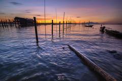 GOOD VIBRATIONS (jopetsy) Tags: alabang muntinlupa philippines sunrise fish boat landscape landscapes seascape seascapes lake bridge log