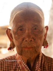 Tattooed Chin Woman With Earlobe Plugs, Myanmar, 2016 (deemixx) Tags: myanmar burma rakhinestate chintribe tattooedface tattooedwomen tattooedlady
