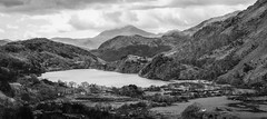 Somewhere in Snowdonia (Dell's Pics) Tags: snowdonia wales lake water hills mountains cloudy sky bw blackandwhite bandw monotone ansel adams