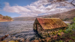 The Boathouse (Einir Wyn Leigh) Tags: boathouse landscape lake water wales outside outdoors 365 view scenery rugged april sunshine lens colour foliage trees clouds cymru joy love shadows wilderness rural light green blue orange gold beauty nature natural
