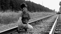 Si (wideeyevideo.com) Tags: si model girl sexy train tracks nirvana panasonic lumix fz1000