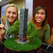 Students show off Bell Tower water fountain project.