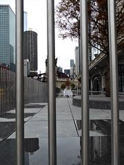 Chicago, Riverwalk, Water Playground (Mary Warren (8.3+ Million Views)) Tags: chicago riverwalk urban architecture buildings water playground metal posts skyscrapers reflection