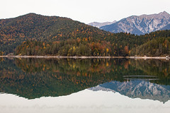 Reflections (DJNstudios) Tags: eibsee germany austria zugspitze duck foliage snow peak mountain reflection lake see dock leaves colors