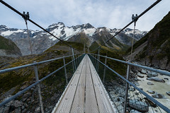 Hooker Valley (zh3nya) Tags: sefton mountsefton aorakimountcooknationalpark newzealand southernalps southisland mountains glacier ice rock peaks rugged bridge swingingbridge tramp hike walk outdoors alpine subalpine river cables d750 tamron1530mm wideangle travel rocks