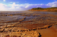 It isn't easy to RUN and PHOTOGRAPH all at the same time...... (Lani Elliott) Tags: lanielliott lani elliottlani nature naturephotography beach sand water sea waves foam oceanbeach seafoam view scene scenic scenictasmania australia tasmania strahan surf