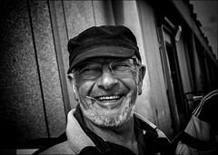 Sourire-allumette / Smile-match (vedebe) Tags: noiretblanc netb nb bw monochrome urbain rue street city ville port ports people pêcheur humain sourire quai portraits