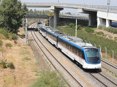 A pair of IZBAN E22000 Class EMUs depart from Izmir Havalimanı (airport) station (Steve Hobson) Tags: izmir havalimanı airport station izban e22000 emu caf turkish railways tcdd