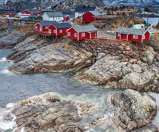 Travel Concepts and Ideas. Classic Traditional Norwegian Fishing Hut Called Hamnoy in Norway