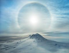 A Polar Sunbow Erupts Over An Iced Volcano, Antarctica [OC] [5222x4011] (georgeekman) Tags: ifttt reddit antarctica ratcliff stuckincustomscom trey treyratcliff