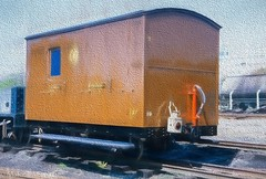 Luggage Wagon (M C Smith) Tags: track brown rail van luggage light wagon fence sky blue window