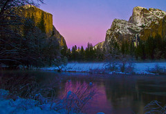 January, Winter Yosemite (r.moreira32) Tags: california blue winter snow sunrise river landscape dawn nationalpark purple magenta olympus calm yosemite e3 mercedriver 714mm