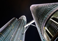 Reaching for the Sky (brentflynn76) Tags: tower architecture night skyscraper lights photo view petronas perspective malaysia kuala kualalumpur lumpur