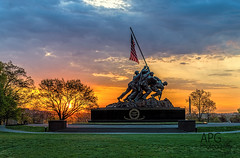 Dawn at the Iwo Jima Memorial, 4/25/14 (APGougePhotography) Tags: sun detail arlington sunrise dawn virginia dc washington nikon marine memorial flag clarity corps topaz iwo jima d600 denoise topazlabs