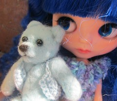 a bear perfectly sized for blythe needle felted
