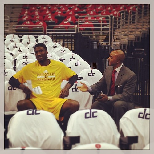 Word is that JT3 won't be at #Wizards-#Pacers Game 6, but his brother Ronny chats it up with Roy Hibbert...