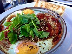 Shakshuka at Fifty Acres in Richmond (ultrakml) Tags: cameraphone food breakfast tomato egg australia melbourne victoria richmond chorizo iphone poached shakshuka dukkah iphone5 fiftyacres
