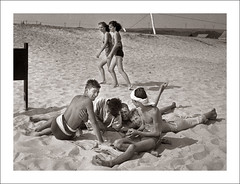 Fashion 0037-08 - Pretending Not to Notice (Steve Given) Tags: girls summer holiday beach boys fashion teens swimwear attraction pretending socialhistory