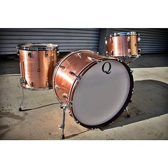 """I love doing patina work on metals but sometimes just a simple brushed copper looks so good! 24"""", 13"""", 16"""". If you are in the UK go to @soundattakdrumco to check these out! #qdrumco #copper #drums #soundattak"""