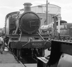Didcot Oxfordshire 1st August 1976 (loose_grip_99) Tags: uk england train blackwhite tank noiretblanc transport shed engine steam depot locomotive prairie aug manor didcot oxfordshire 1976 preservation gwr mpd 460 greatwestern 6106 uksteam gassteam