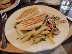 Lucky Days panini (Nekoglyph) Tags: york food mushroom cheese bread lunch bacon cafe yorkshire plate pasta peppers churchstreet panini penne cambozola luckydays rolladice