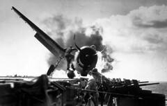 Ensign Byron Johnson crash lands his F6F Hellcat aboard USS Enterprise, 10 Nov 1943