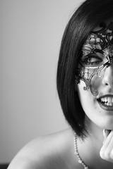 Guest Photo by Amy Walker (pigpogm) Tags: blackandwhite woman monochrome face mask half