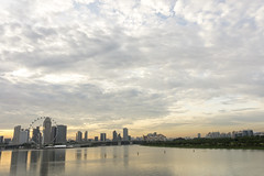 City skyline in sunset at the Marina Barrage in Singapore (davejunia) Tags: city sunset skyline marina bay singapore barrage sgp