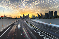 TWB_4181 (xxtreme942) Tags: sunset clouds highway singapore freeway expressway mce lighttrail burningclouds nicesunset singaporefinancialdistrict marinacoastalexpressway