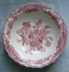 Vintage Crown Ducal Bristol Pattern Red & White Transferware Bowl (karalennox) Tags: pink flowers red floral birds vintage bristol soup bowl etsy transferware crownducal