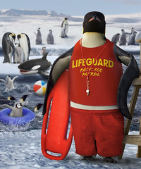 Penguin Lifeguard (suedetess) Tags: ocean mountain snow cold ice beach water shirt swimming swim photomanipulation ball penguin frozen chair waves lifeguard pack inflatable whale chicks shorts orca trunks float worth1000 whistle suedetess