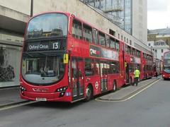 VH11, John Prince's Street, London, 22/06/14 (aecregent) Tags: london volvo wright 13 vh gemini2 transdev johnprincesstreet vh11 transdevlondon londonsovereign b5lh 220614 bd13ohj londonbuses2014