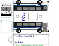 1999 new flyer D60HF (dedogs paper bus model darwings) Tags: new flyer newflyer mta nyct 1999