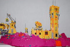 Overview mining outpost (sander_koenen92) Tags: lego space mining tower lava platform outpost container ship crane crystals