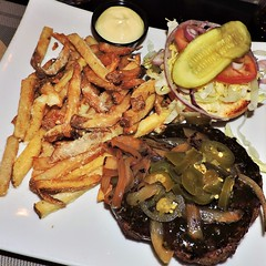 Spicy 'Cajun' burger with onions, jalapenos, pickles, lettuce, tomatoes; parmesan fries in truffle oil, mayo (Will S.) Tags: mypics truffles burger bar cornwall ontario canada fries